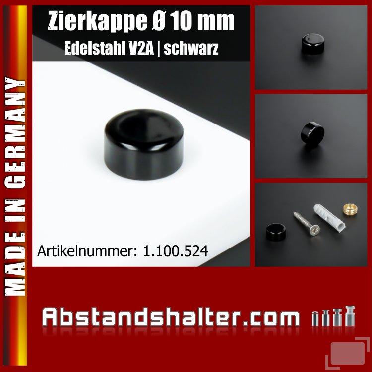 Zierkappe für Schrauben Edelstahl inkl. Gewindehülse flach Ø10mm | Schwarz
