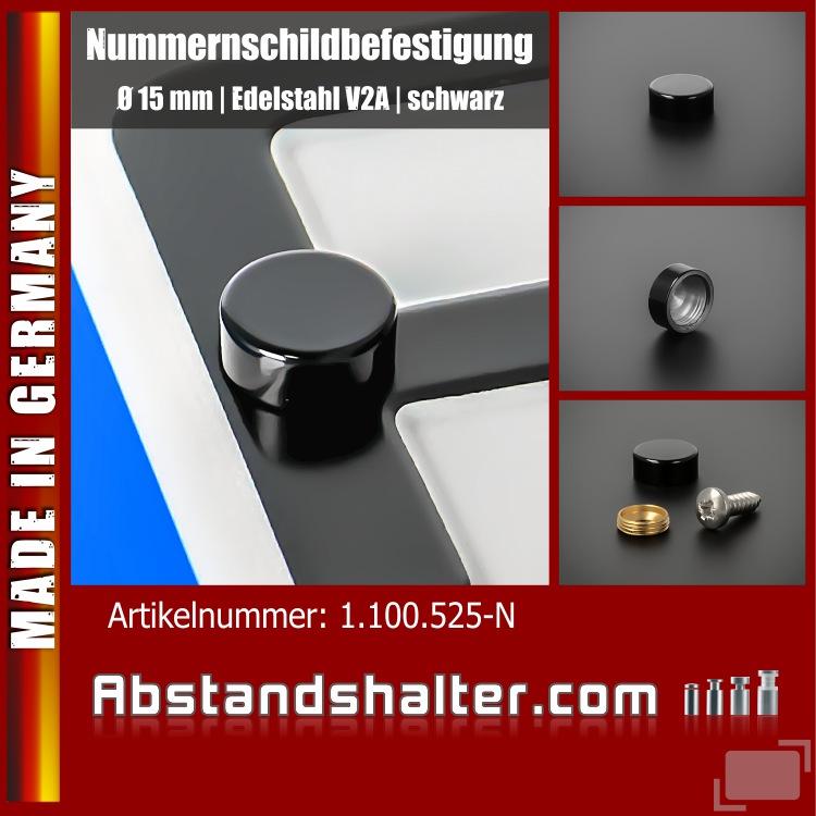 Nummernschild Befestigung Edelstahl Ø15mm inkl Schraube 4,8x16 Schwarz