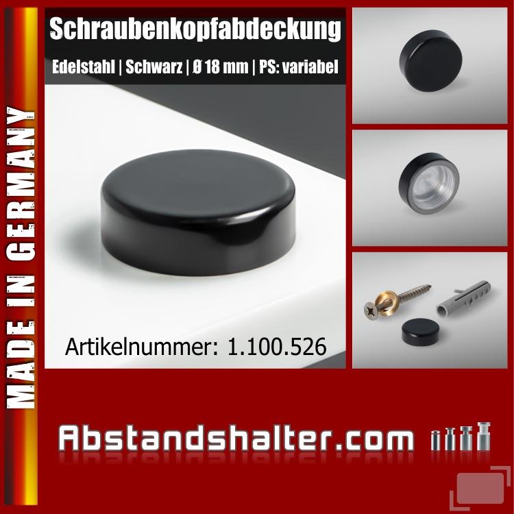 Schraubenkopfabdeckung Edelstahl inkl. Gewindehülse flach Ø18 mm | Schwarz