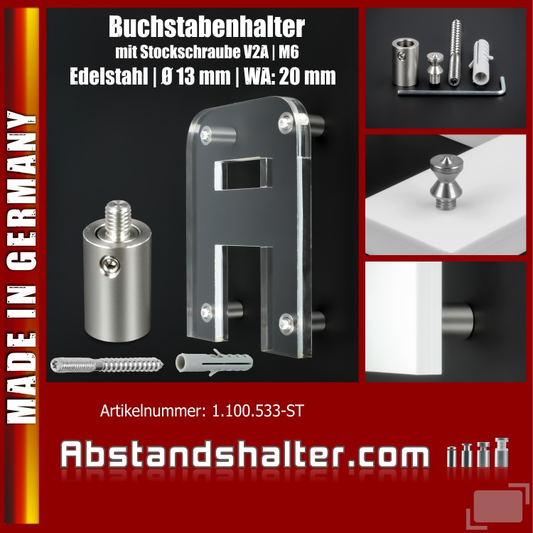 Schilderhalter Edelstahl Ø13x20mm Logobefestigung V2A | Stockschraube