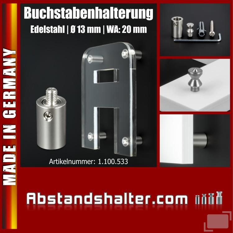 Buchstabenhalterung + Gewinde Edelstahl Ø13mm WA:20mm Logobefestigung V2A