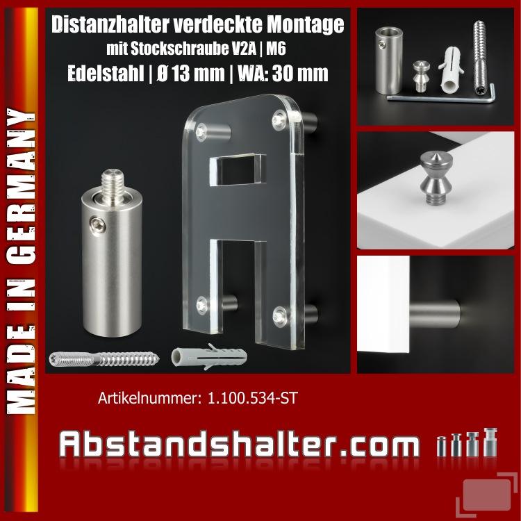 Distanzhalter verdeckte Montage Ø13x30mm Edelstahl V2A | Stockschraube