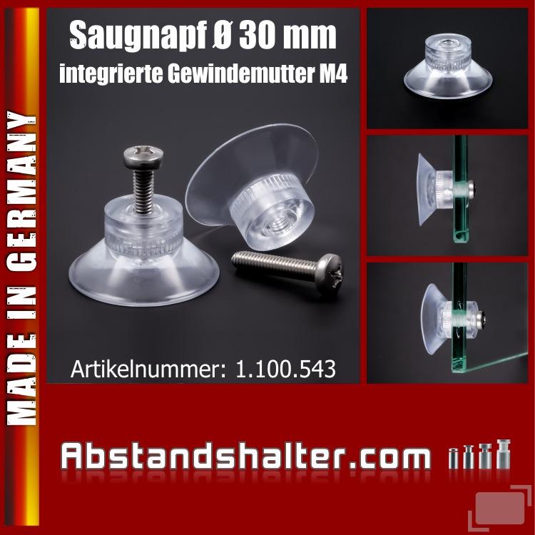 Saugnäpfe Ø 30 mm Sauger mit innenliegender Gewindemutter M4