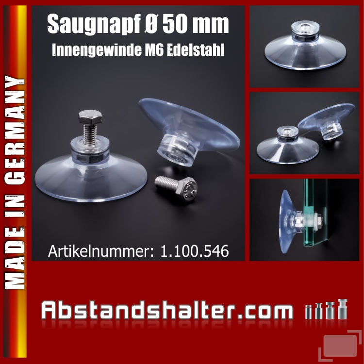 Saugnäpfe Ø 50 mm Saugnapf mit Innengewinde M6 | Edelstahl