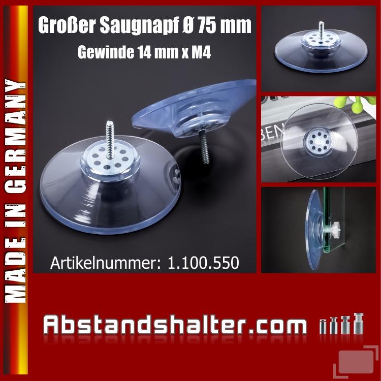 Saugnäpfe 75 mm großer Saugnapf mit Gewinde-Stift 14 mm x M4 bis 10 kg