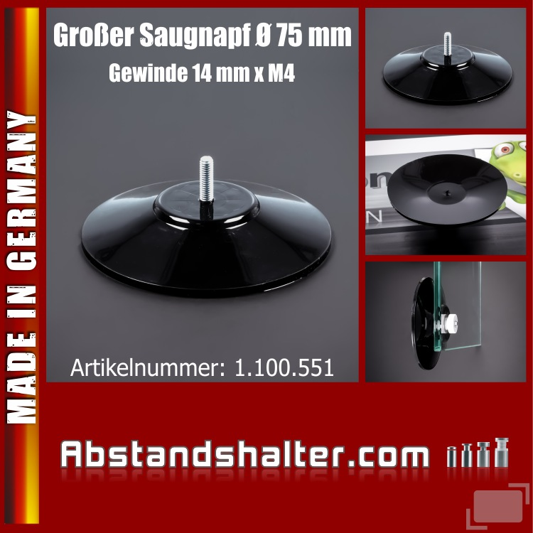 Saugnäpfe 75 mm Saugnapf Gewinde-Stift 14 mm x M4 bis 10 kg | schwarz