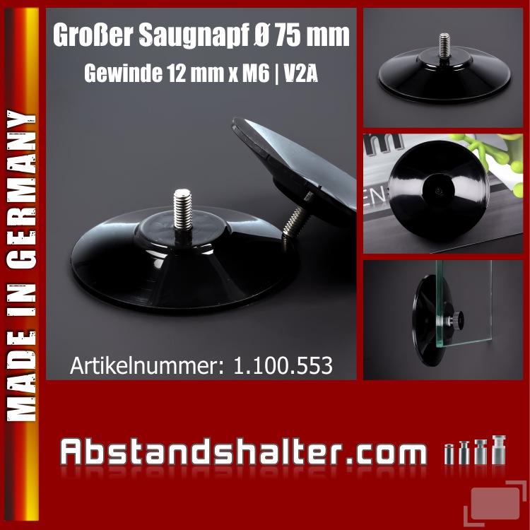 Saugnäpfe 75 mm Saugnapf Gewinde-Stift V2A 12 mm x M6 bis 10 kg   schwarz