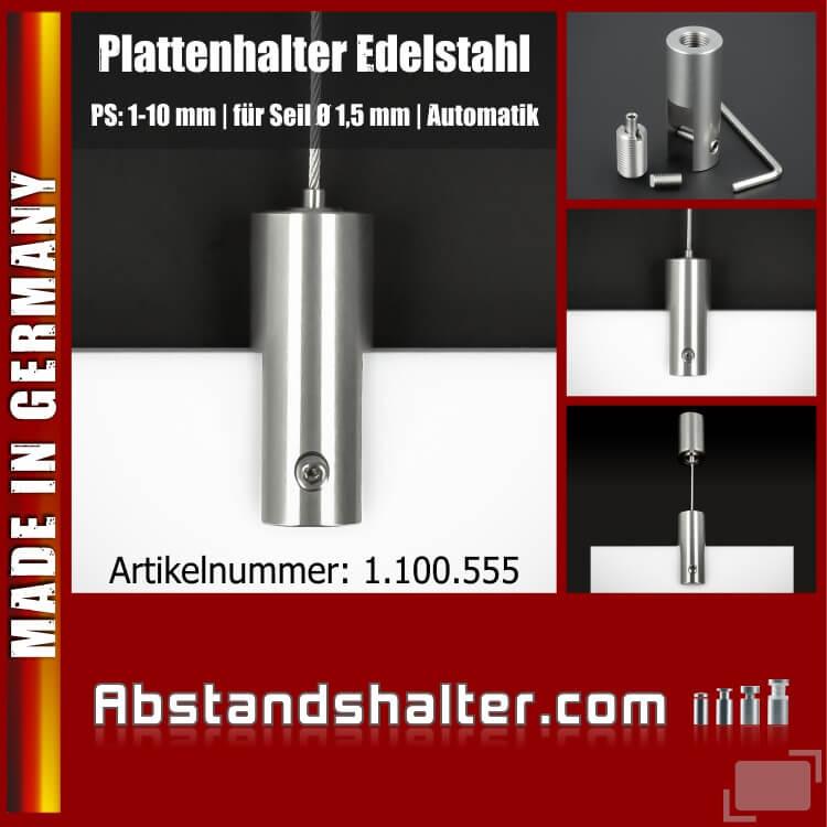Plattenhalter Ø18mm L:45mm PS:1-10mm Seil Ø1,5mm Automatik | Edelstahl