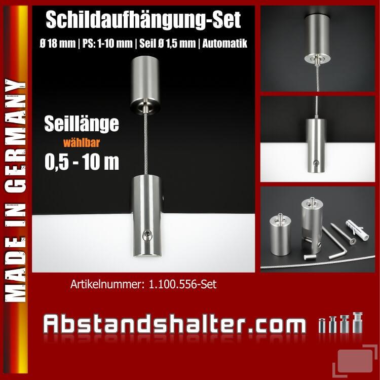 Schildaufhängung-Set Edelstahl Ø18mm PS:1-10mm Seil 0,5-10m Automatik