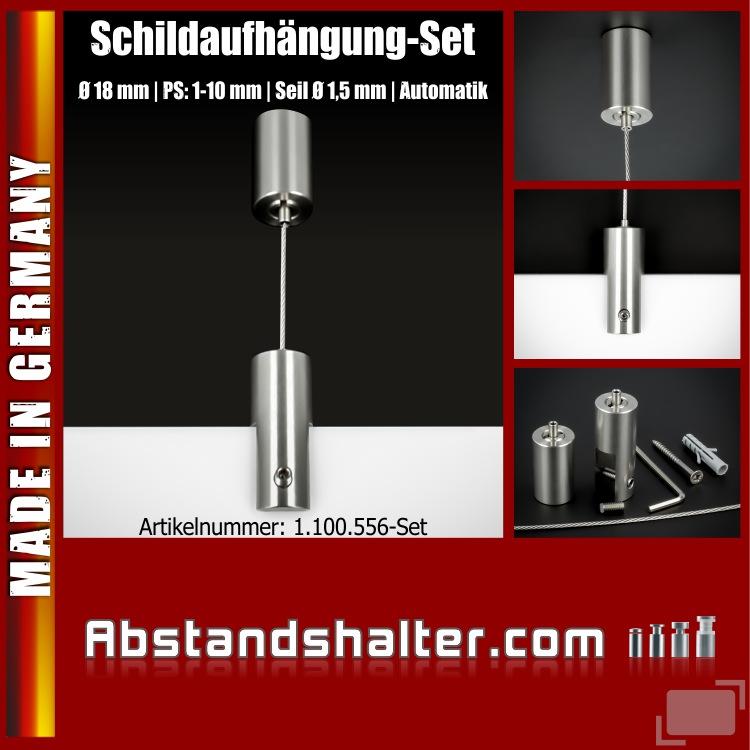 Schildaufhängung-Set Ø18mm PS:1-10mm Seil Ø1,5mm Automatik Edelstahl