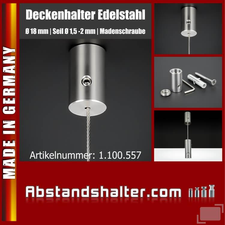 Deckenhalter Ø18mm L:30mm für Seile 1,5-2 mm Madenschraube | Edelstahl