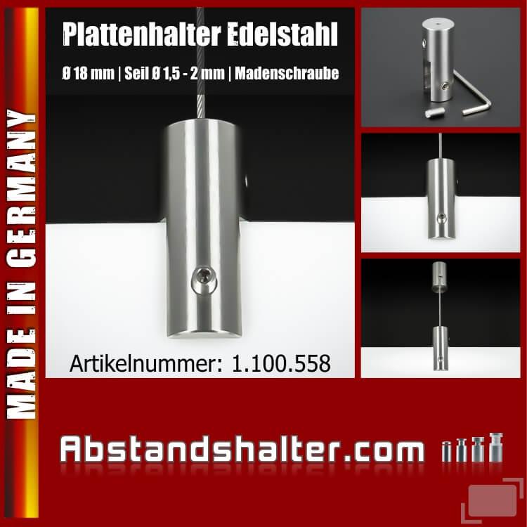Plattenhalter Ø18mm L:45mm PS:1-10mm Seil Ø 1,5 - 2mm | Edelstahl V2A