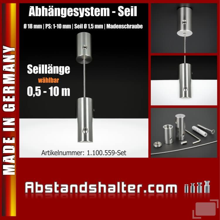 Abhängesystem Ø18mm PS:1-10mm Seil Ø 2 mm Madenschraube Edelstahl