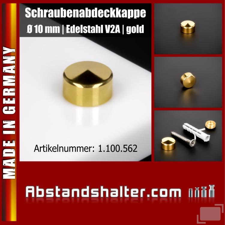 Schraubenabdeckkappe Edelstahl inkl. Gewindehülse flach Ø10mm | Gold