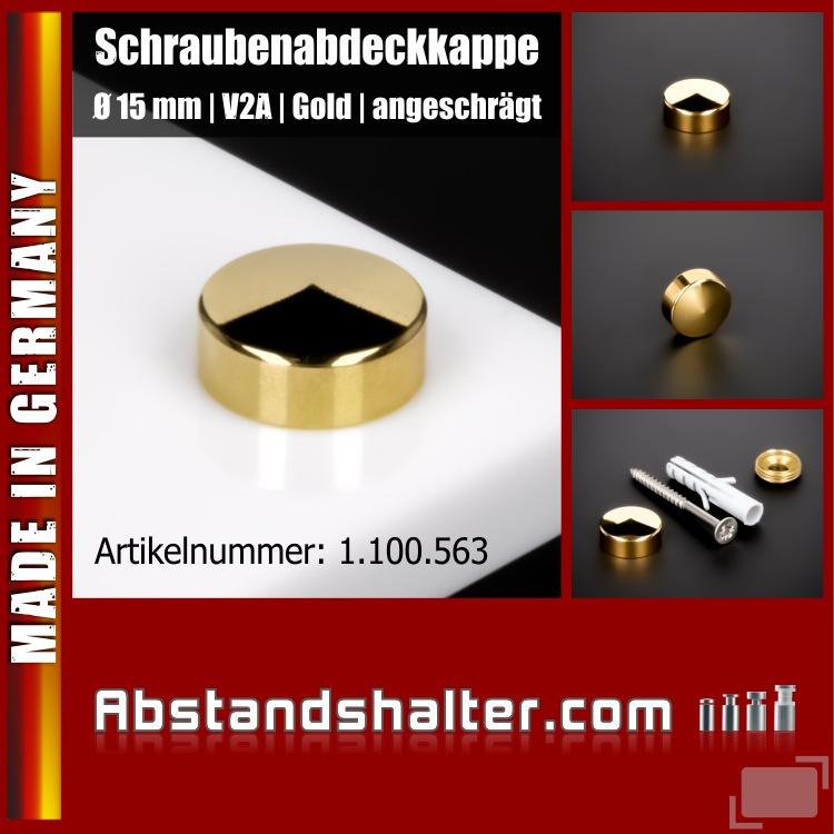 Schraubenabdeckkappe Ø 15 mm Edelstahl inkl. Gewindehülse Ø18mm | Gold