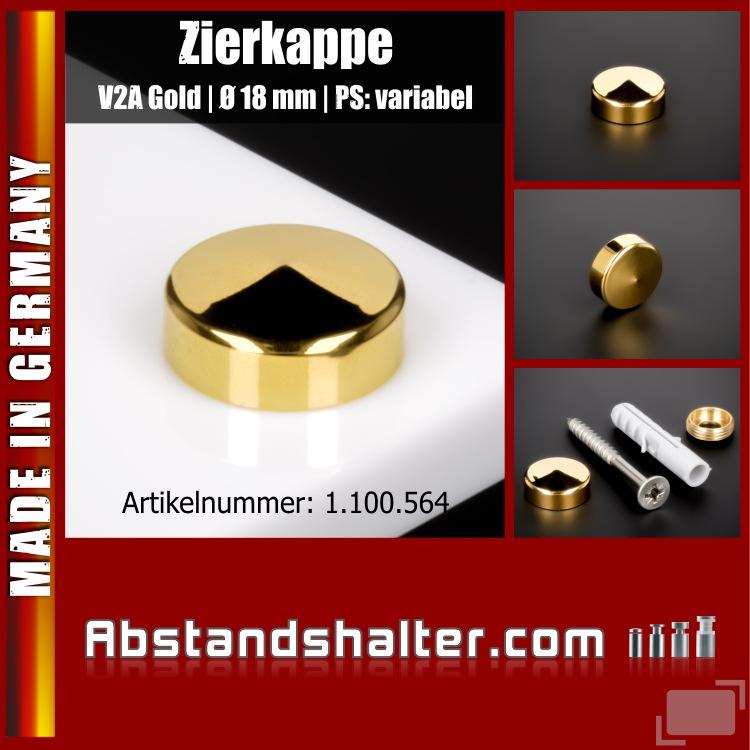 Schraubenabdeckkappe Ø 18 mm Edelstahl V2A inkl. Gewindehülse | Gold