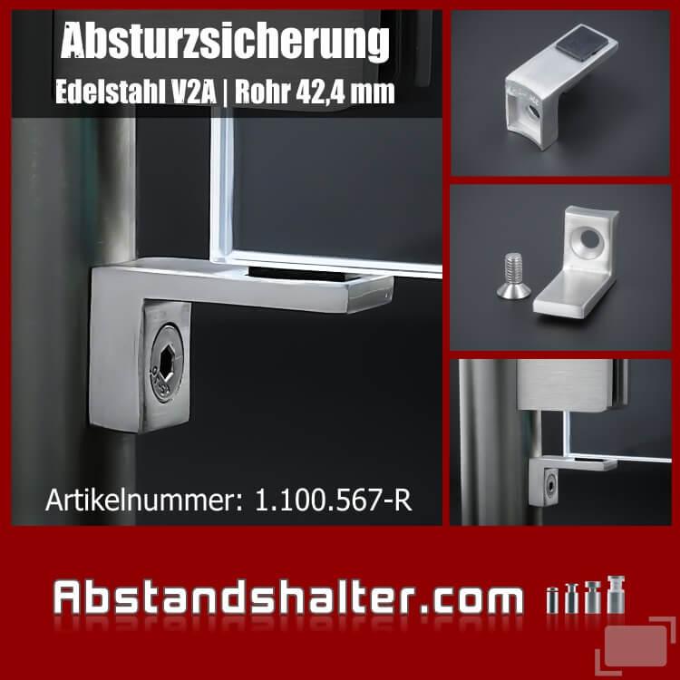 Absturzsicherung Scheiben Glashalter Edelstahl Anschluss Rohr 42,4