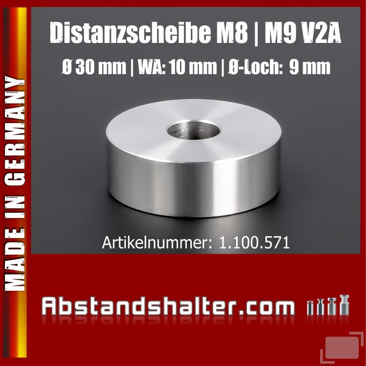 Distanzscheibe M8 | M9 | Distanzstück Edelstahl Ø30mm WA:10mm L-Ø:9mm