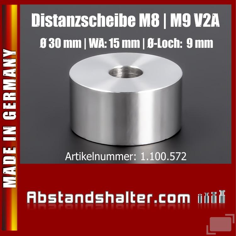 Distanzscheibe | Distanzrolle Edelstahl Ø 30mm WA: 15mm L-Ø: 9mm | V2A