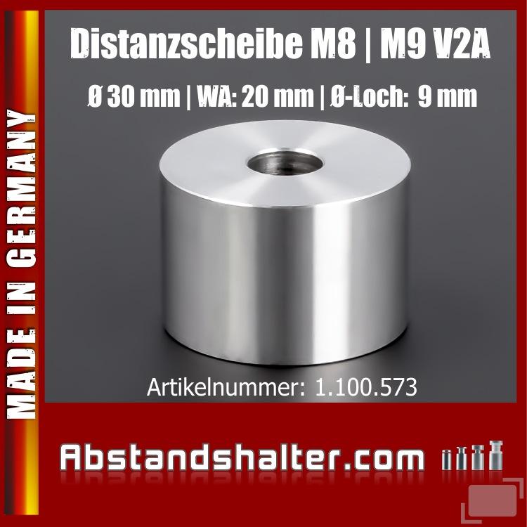 Distanzscheibe | Distanzrohr Edelstahl Ø 30mm WA: 20mm L-Ø: 9mm | V2A