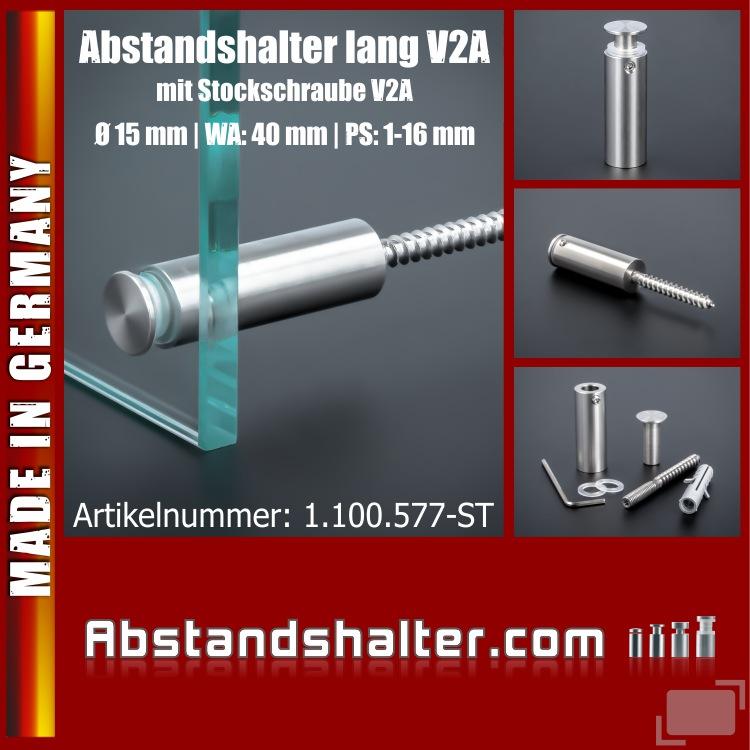 Lieferumfang: Abstandshalter Edelstahl Ø 15mm WA: 40mm PS: 1-16mm | Stockschraube
