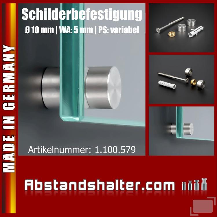 Schilderbefestigung Edelstahl V2A Ø 10x5mm Praxisschilder PS: variabel
