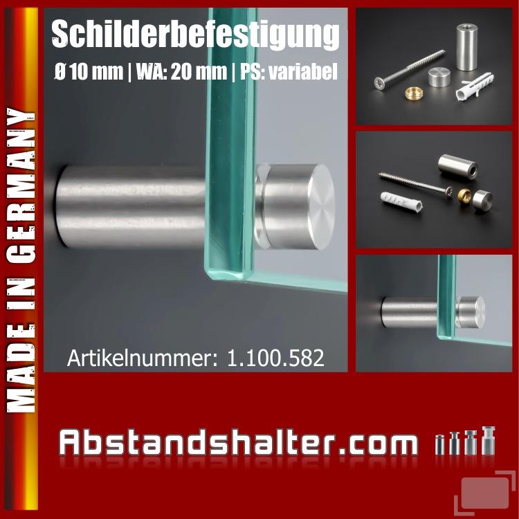 Schildbefestigung Edelstahl V2A Ø 10x20mm Schilderhalter PS: variabel