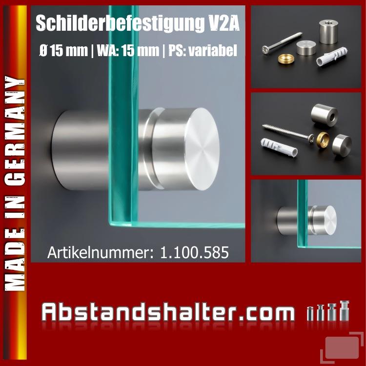 Schilderbefestigung Edelstahl V2A Ø 15x15mm Schilerhalter PS: variabel