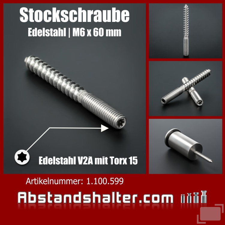 Stockschraube M6x60 mm Edelstahl V2A A2 rostfrei | Torx-Antrieb 15