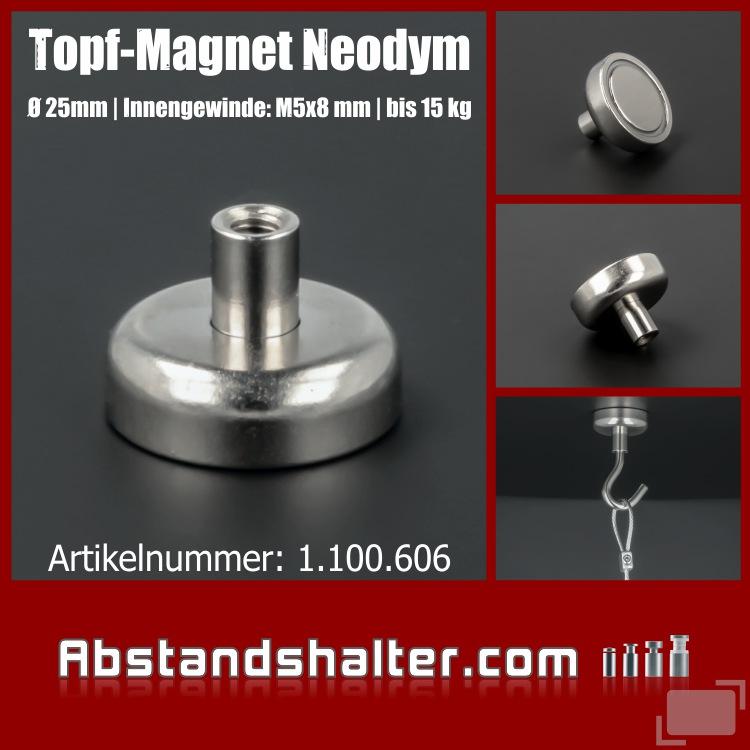 Topf-Magnet Ø 25mm Innengewinde M5x8 mm WA: 8 mm Haftkraft 15 kg