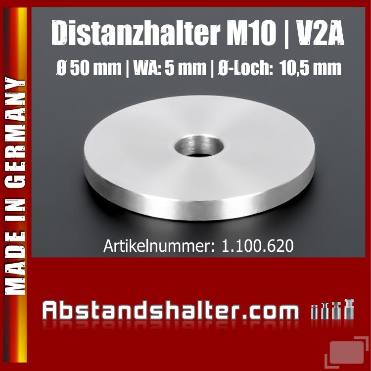 Distanzscheibe Distanzhalter Edelstahl Ronde Ø50mm WA:5mm Loch 10,5mm