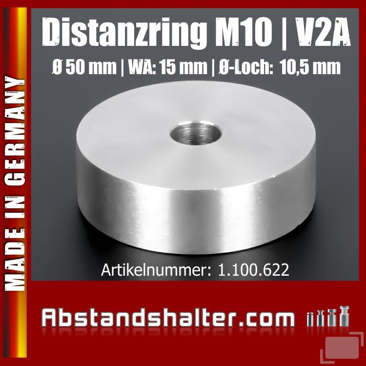 Distanzscheibe | Distanzring Edelstahl Ø 50mm WA: 15mm L-Ø: 10,5mm | V2A