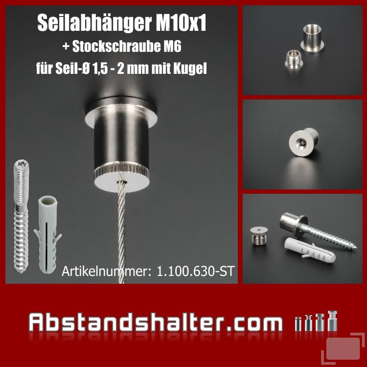 Seilaufhängung Messing vernickelt für Kugelseil 1,5-2 mm | Stockschraube