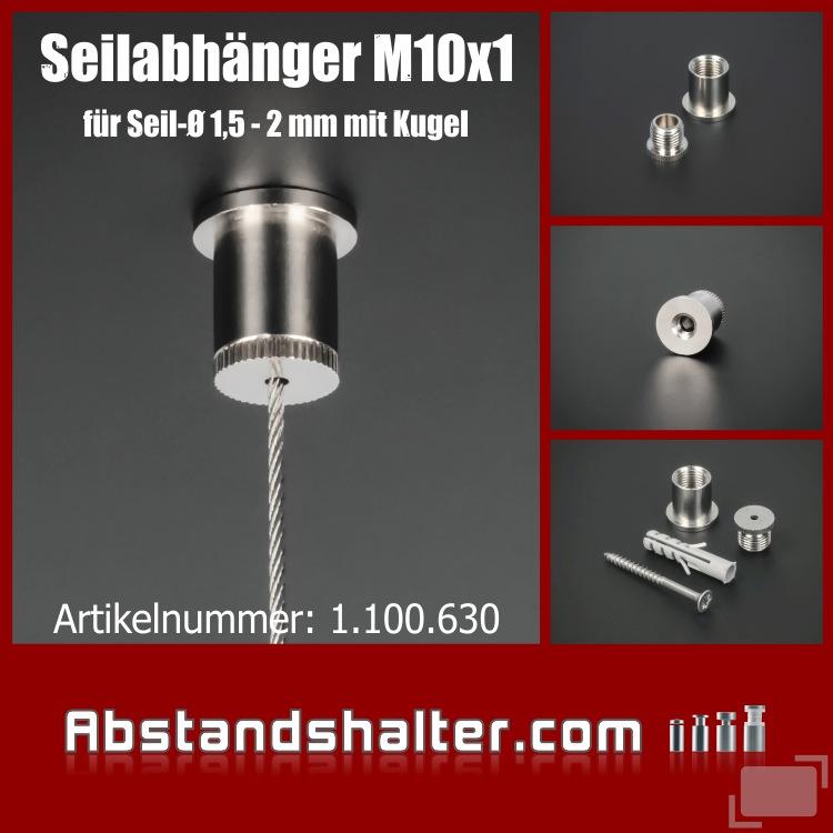 Deckenhülse Seilabhänger Messing vernickelt 10x1mm für Kugelseil
