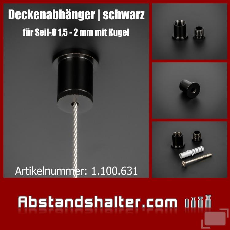 Deckenabhänger Seilabhänger Messing 10x1mm für Kugelseil | schwarz