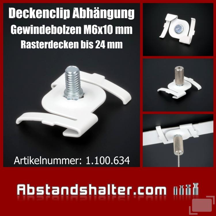 Deckenclip Abhängung M6x10mm Rasterdecken Odenwalddecken 24 mm | weiß