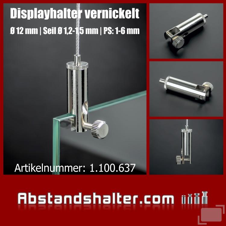 Platten Display-Halter Ø12mm H:38mm PS:1-6mm Seil Ø1,2-1,5mm Automatik