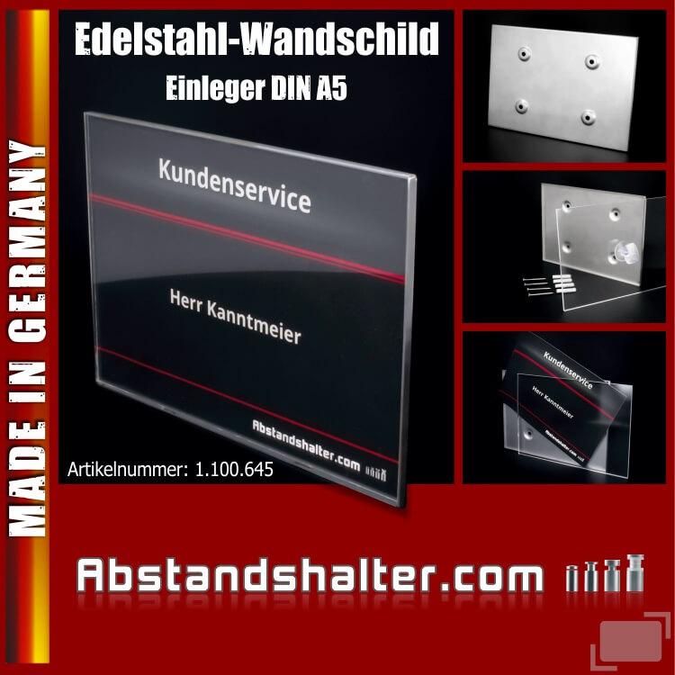 Edelstahl-Wandschild 212x150mm A5 Acryl Metall V2A Schraubmontage