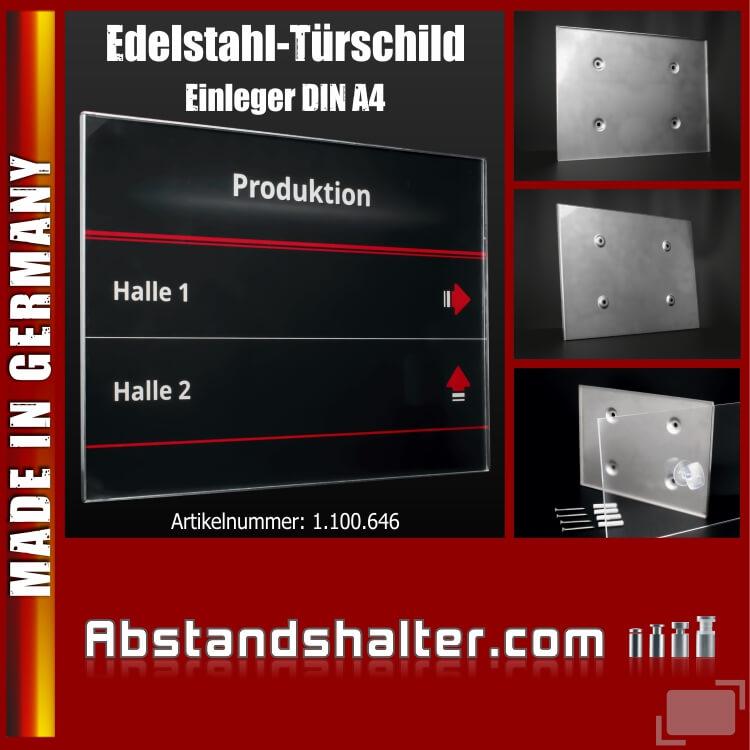 Edelstahl-Türschild Büro 299x212mm DIN A4 Acryl Metall Schraubmontage
