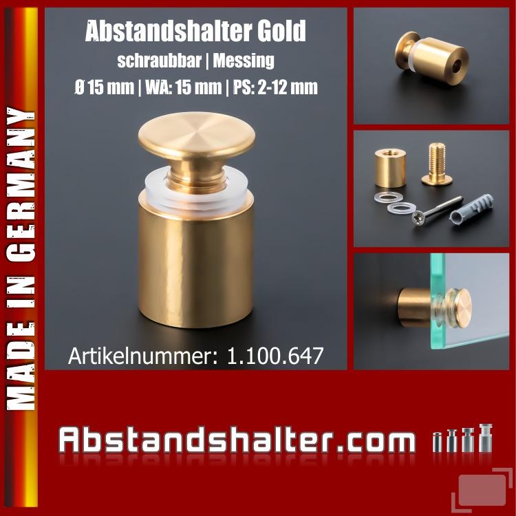 Abstandshalter schraubbar Messing Ø15 mm WA: 15 mm PS: 2-12 mm | Gold