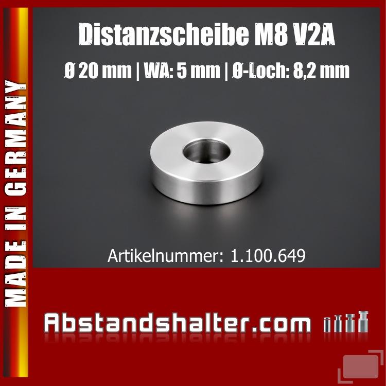 Distanzhülse M8 Ø 20mm WA: 5mm L-Ø: 8,2mm Distanzscheibe Edelstahl V2A