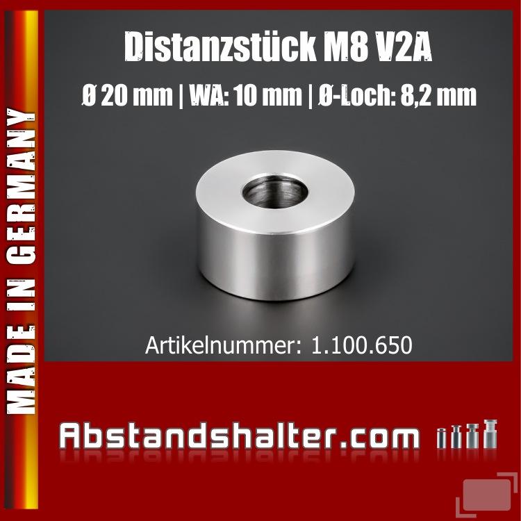 Distanzhülse M8 Ø 20mm WA: 10mm L-Ø: 8,2mm Distanzstück Edelstahl V2A