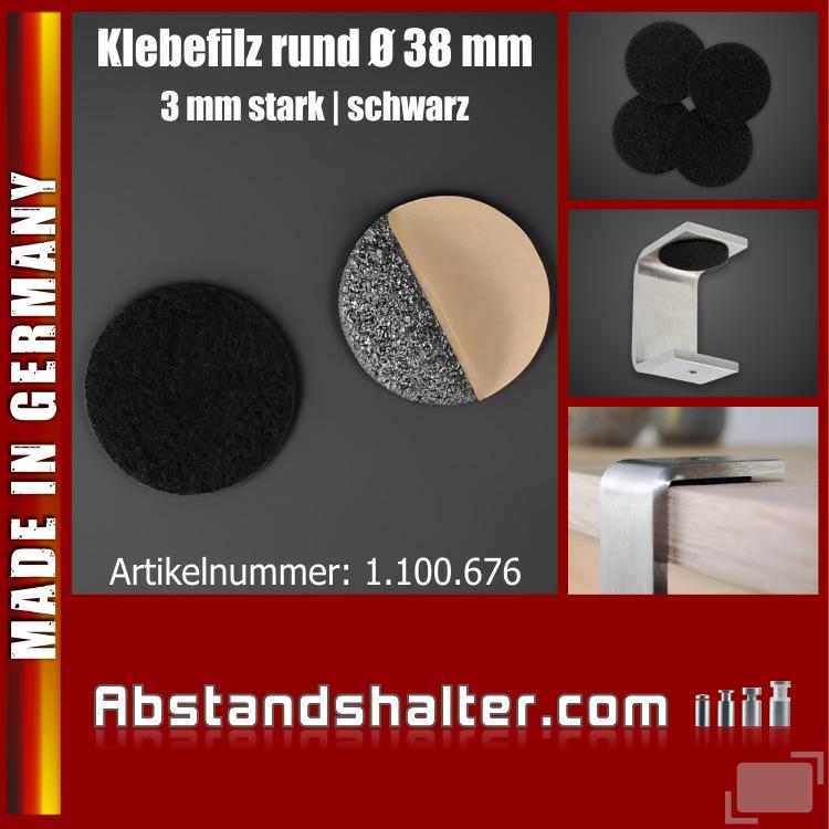 Filzgleiter Ø38 mm rund selbstklebend Möbelgleiter 2mm Stärke schwarz