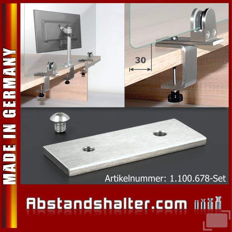 Tischklemmenverlängerung Edelstahl V2A 40x100x5 mm | Monitorhalterung