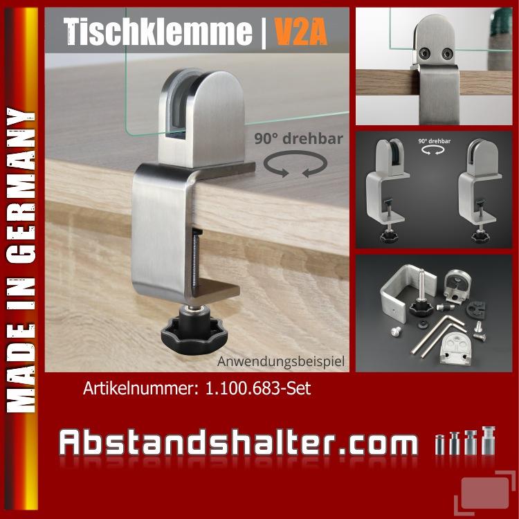 Spuckschutz Scheibe Tischklemme Edelstahl Klemmbereich:12-50mm + Glashalter 3-10,76mm | Schreibtische | Tresen