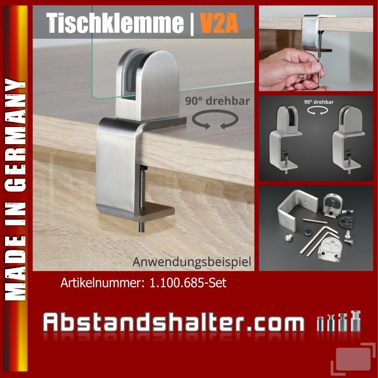 Tischklemme Edelstahl K:1-50mm Spuckschutz Abtrennung + Glashalter 3-10,76mm | Schreibtische | Tresen