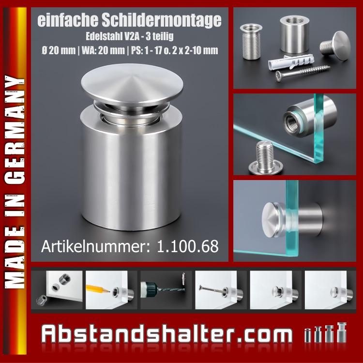 Schilderhalterung Edelstahl V2A Ø 20 mm WA: 20 mm PS: 1-17 oder 2 x 2-10 mm | Schildermontage