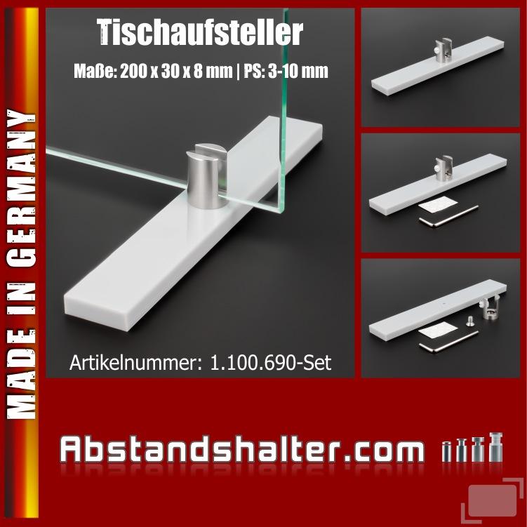 Acryl Fuß Tischaufsteller+Halter für Spuckschutz 200x30x8mm PS: 3-10mm | Schreibtisch | Gastronomie