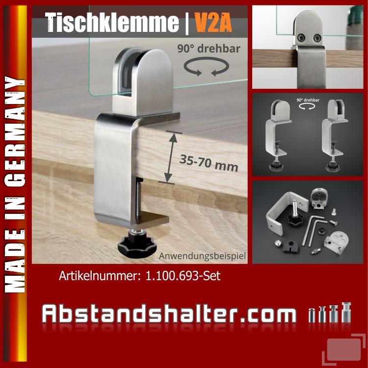Spuckschutz Scheibe Tischklemme Edelstahl K:35-70mm+Halter 3-10,76mm | Schreibtisch | Glas | Plexiglas