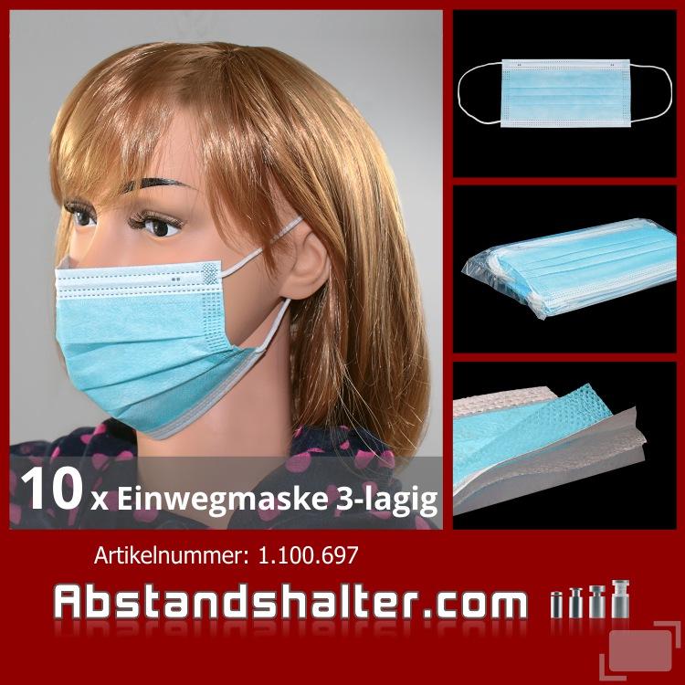 Einwegmaske 3-lagig Atem Nase Mund Maske Gesichtsmaske hellblau Mundmaske | Mundbedeckung | Alltagsmaske
